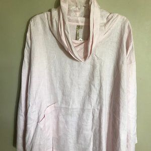 Comfy USA Pale Pink 100% Linen Cowl Neck Tunic Top
